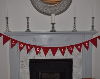 """Handmade Red """"Love"""" Bunting Banner, Fabric, Wedding, Prop, Engagement, Bridal Shower, Decoration, Valentines Day"""
