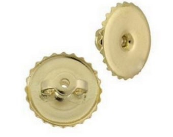 1 Pair 9MM Solid 14k Yellow Gold Flat Replacement Screw On Screw Off Earring Back