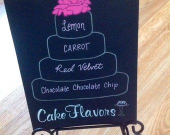 Hand Painted Wedding Cake Flavor Table Display Sign