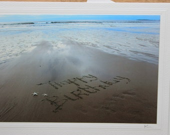 Happy Birthday Card,  Beach Writing Photo Card, Beach Card, Photo Card, Sand Writing Card