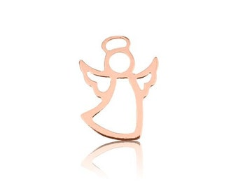 Sterling Silver 925 charm Angel plated with pink gold