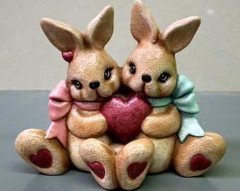 Cuddle Heart Bunnies--Heirloom Quality--Hand-painted Ceramic--Holiday Figurine Decor--Seasonal Figurine Decor--Home Decor--Patio Decor