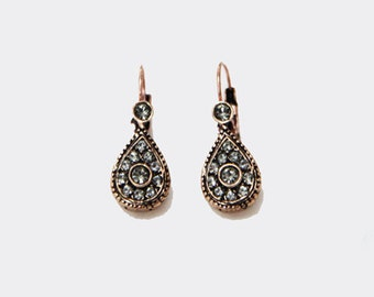 Drop shaped Swarovski Crystal Bronze Earring -- SALE !!! --