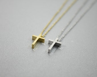 Tiny Cross Charm Necklace . Cross Necklace Simple and Modern Necklace Birthday Gift Gift Necklace
