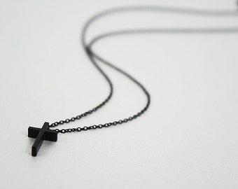 Black Tiny Cross Charm Necklace Simple and Modern Necklace Gift for Friends Delicate Cross Necklace