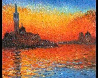 Claude Monet - Sunset in Venice Art Print Framed 11 x 14 Inches