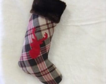 Handmade unique Stocking Plaid with Deer Stag & Fur Cuff