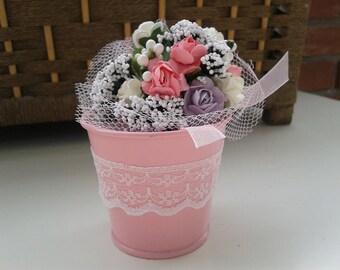 Flowers bucket Wedding favors bucket Lace Flowers bucket Pink bucket