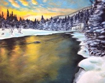 "Original acrylic painting, landscape painting, winter landscape, ""Winter's Luster"", 20""x20"""