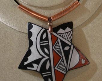 """Southwest Indian Pottery """"Potsherd"""" Wearable Gourd Art, fine art in a necklace"""