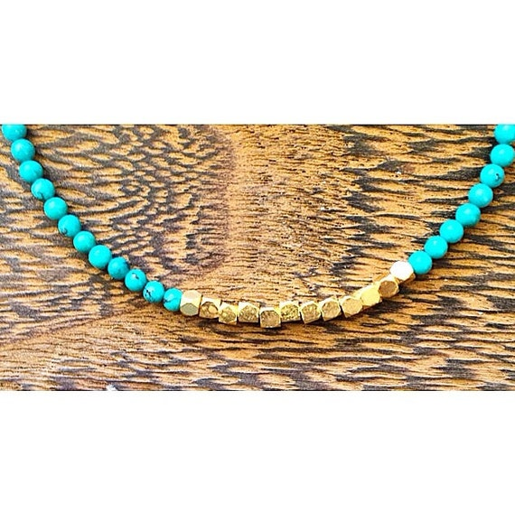 gold vermeil and tiny turquoise beaded bracelet ••• delicate jewelry