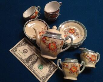 Vintage Miniature 18 piece Dish/Tea Set. 1960's