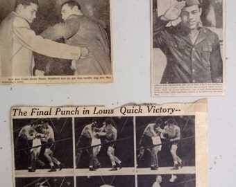 Vintage Joe Louis Max Schmeling Newspaper Clippings 1938 Free Shipping