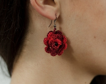 Crochet rose earrings