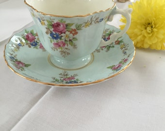 Aynsley England Bone China Mint Green Floral Tea Cup Saucer Gold Gilt Rim Wedding Bridal Shower Gift