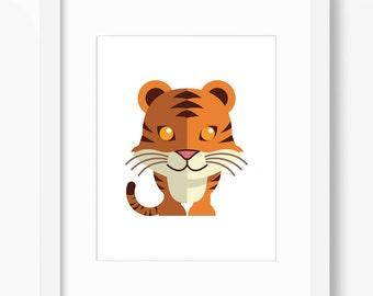 Tiger Print, Tiger Art, Nursery Art, Nursery Print, Nursery Tiger Print, Nursery Tiger Art, Kids Tiger Art, Kids Tiger, Childrens Tiger