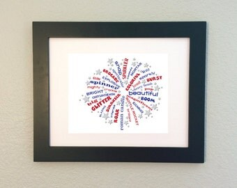 July 4th Fireworks / Word Art Typography Subway / Wall Art / Home Decor / Unique Gift / Sparklers Independence Day / Fourth of July