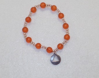 Apricot Glass and Czech Glass 12 Step Recovery Prayer Beads