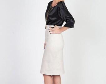 light gray pencil skirt cotton midi skirt modest skirt