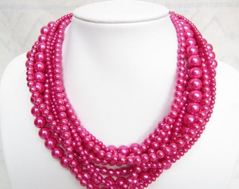 Hot Pink,Necklace For Women,Layered Necklace,Pearl Necklace,Bridesmaid Gifts,Bead Necklaces,Statement Necklace,Wedding Gift Ideas,Fashion