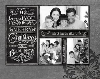 Chalkboard Christmas Card - 3 Photo Bright New Year