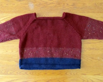Burgundy Hand Knit Child's Sweater