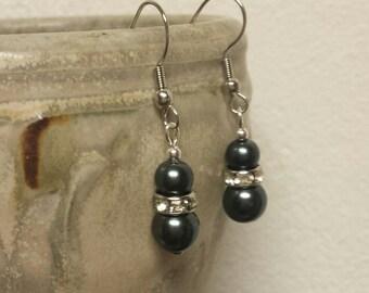 Jeweled Glass Pearl Drop Earrings - Gunmetal