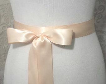 Champagne Satin Sash - Bridal belt - blush bridal sash - bridal Satin sash - flower girl sash - Bridesmaid sash - Wedding Plain Satin Sash