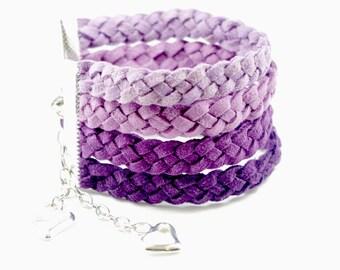Purple Suede Bracelet,  Purple Braided Bracelet Cuff, Heart Bracelet, Love bracelet, Purple Charm Bracelet, OOAK Ombre Purple Bracelet
