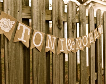 Personalized Burlap Pennant Banner- Great for Weddings, Showers, or More!