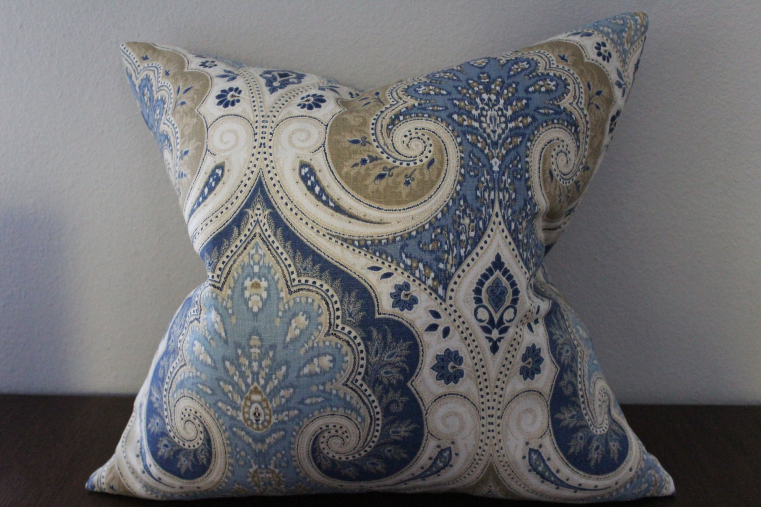 Decorative Cream Pillows : Blue Brown Cream Throw pillow cover Decorative pillow
