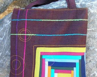 Art patchwork bag.Tote bag.Handbag.Everyday bag.Colorful bag.Ladies bag.Unique bag