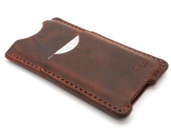 Handmade Apple iPhone 5 5s Brown Leather Case Cover / Card Pocket Wallet Matte