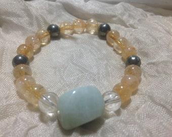 Sunny Waters Bracelet, Aquamarine, Citrine, Pyrite, Quartz
