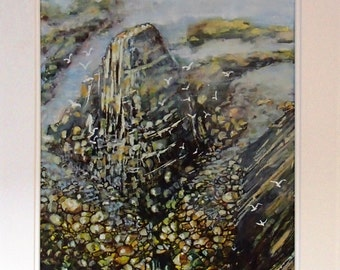 Original Water Colour landscape Painting of a Look into Lands End Cornwall, in a very definite style by Barry Baxter