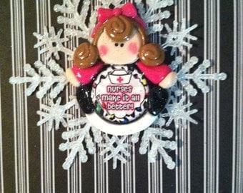 Whimsical Clay Nurse Ornament
