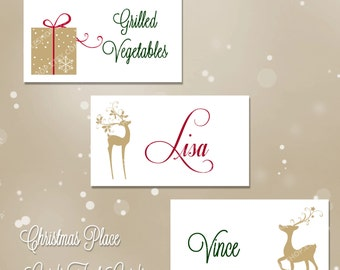 Christmas Place Cards, Holiday Place Cards, Christmas, Holiday, Printable, Place Card, Tent, Card, Food Card, Table Card, Instant Download