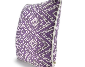 """Chic Strie Purple Decorative Pillow cover with white piping , 18""""x18"""" , Moderm Home Decor."""