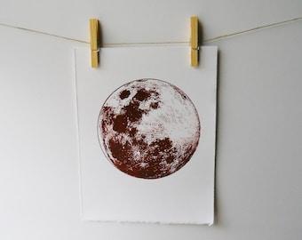 Full Moon screenprint | Rust | vintage