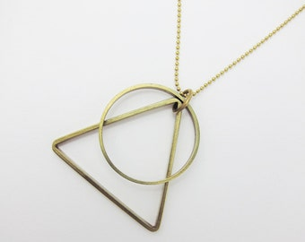 PIECES shapes - brass - necklace long