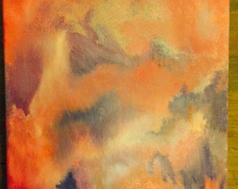 Breaking of Clouds in a Sunset - Abstract Oil Painting