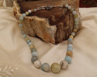 Beautiful Faceted Semi Precious Stone Tapering Necklace with Natural Browns, Greens and Sky Blue Shades
