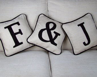 Personalised Initial Cushions - Set Of Three. Personalised Cushion Perfect For New Home Gift or Home Gift. Fully Personalised Letter Cushion