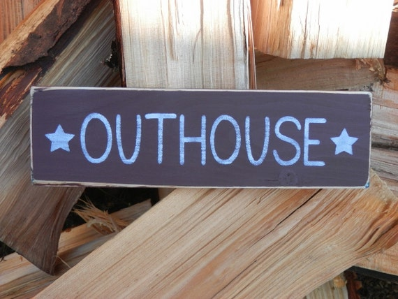 outhouse country decor wood sign. Black Bedroom Furniture Sets. Home Design Ideas
