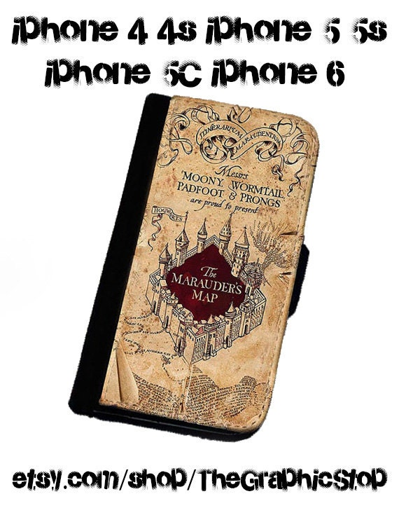 Harry Potter Inspired The Marauders Map iphone 4 4s iphone 5 5s iphone 6 & 6 Plus wallet  Leather gear for iphone cases wallets phone covers