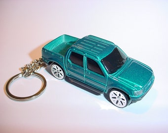 3D Ford Explorer Sport-Trac pick up custom keychain by Brian Thornton keyring key chain finished in teal truck trim diecast metal body