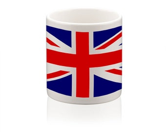 Ceramic mug printed with British union jack flag design