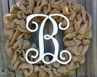 Monogram Wreath, Initial Wreath, Burlap Monogram Wreath, Burlap Decor, Door Decor, Burlap Door Decor, Door Wreath, Wreath for Door