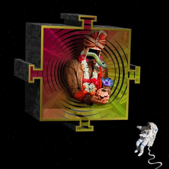 TEA024_Are You Not What You Seek? Surreal, Astronaut, Mandala, Snake, Prayer, Hindu, Lotus Flower, Interstellar, Black Hole, Spirituality