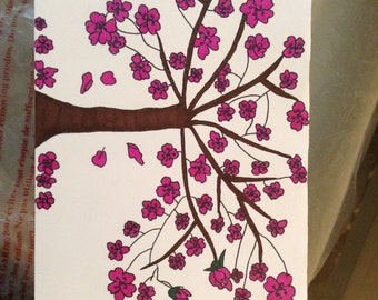 Cherry Blossom Tree Hand Painted Greeting Cards